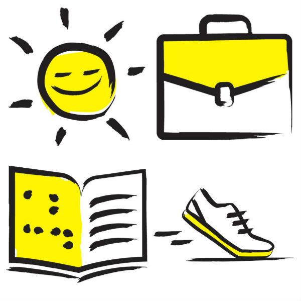 Yellow and black icons including a sun, a briefcase, a shoe and a braille book