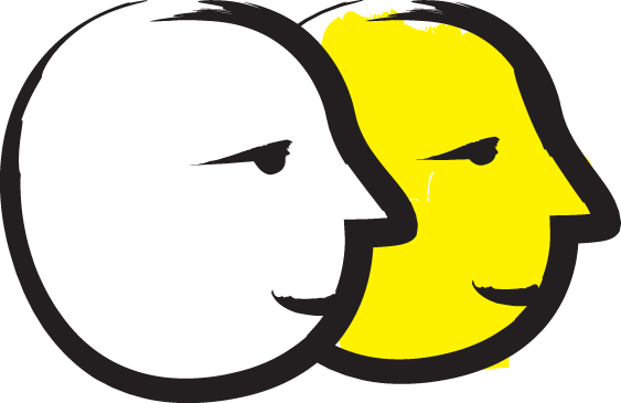 A yellow and black icon featuring two faces