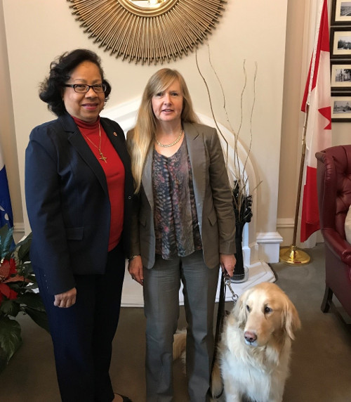 Diane Bergeron, CNIB's Vice President of Engagement and International Affairs, meets with Independent Senator Marie-Françoise Mégie.