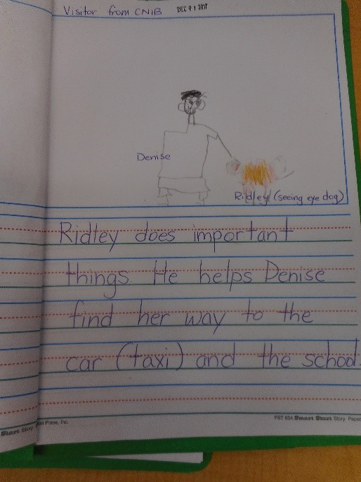 A student's journal entry about guide dogs. It reads: Ridley does important things. He helps Denise find her way to the car (taxi) and the school.
