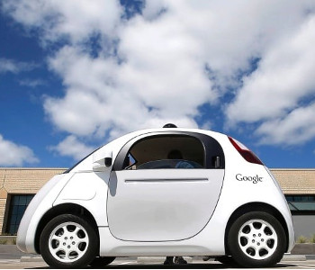 Google's self driving car is shown during a demonstration. Photo from CBC.