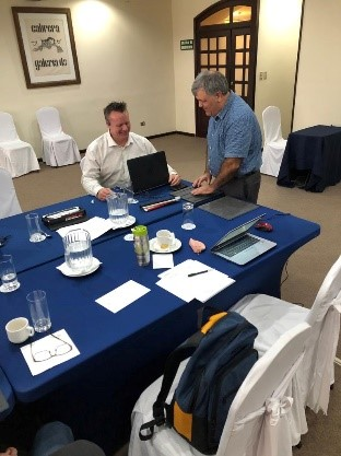 Rob Gaunt, Executive Director, CNIB Foundation Ontario North & West and Lui Greco, Manager, Regulatory Affairs, CNIB at World Blind Union officers meeting in Guatemala City. - November 2018