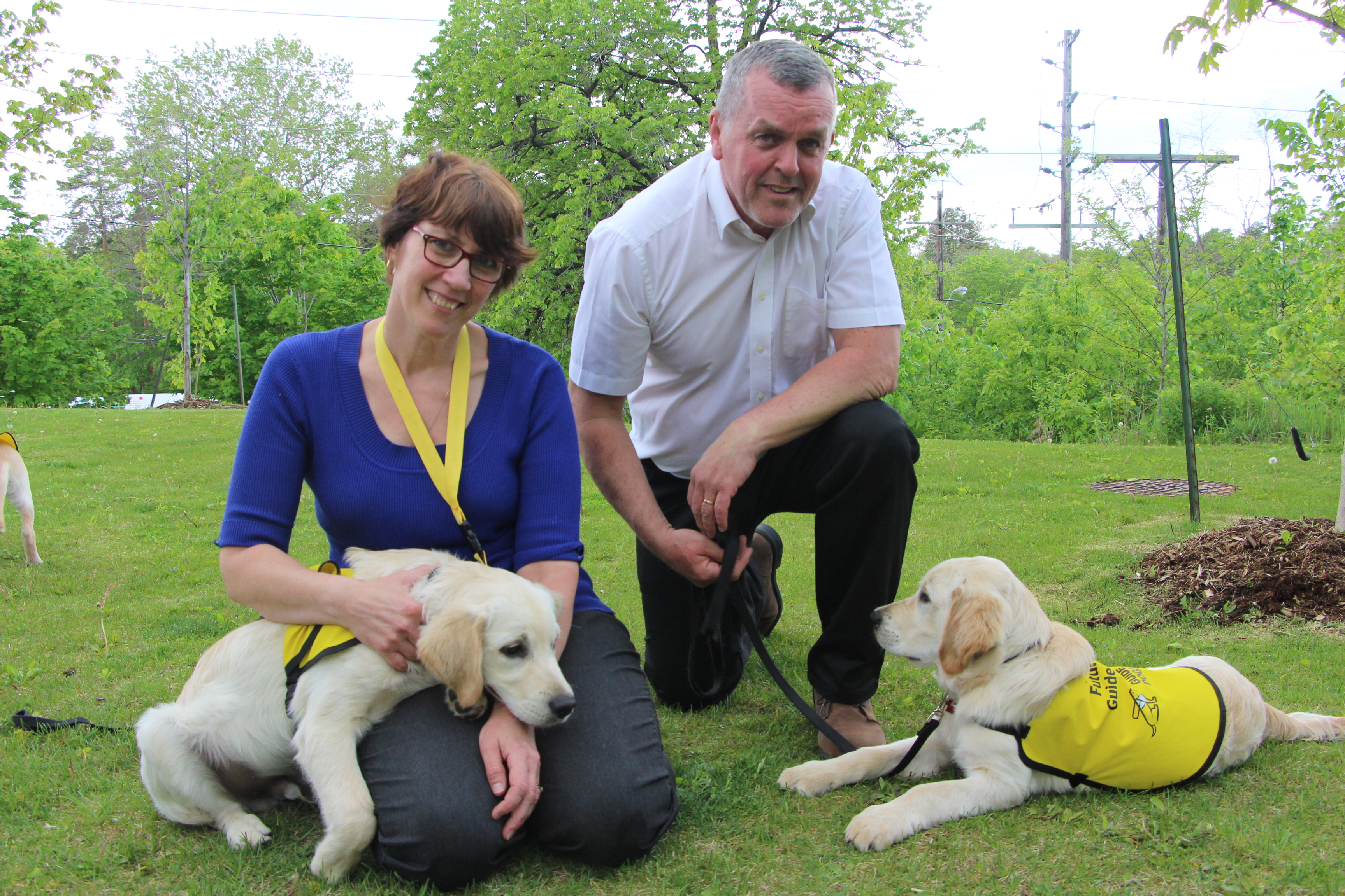 "A woman sits on the grass holding a golden labrador puppy who's wearing a ""future guide dog"" vest. A man hunches over next to her, and there are two other puppies in similar vests around them."