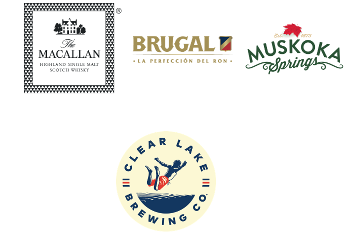 Logos for Macullen, Brugal Rum, Clear Lake Brewery and Muskoka Springs