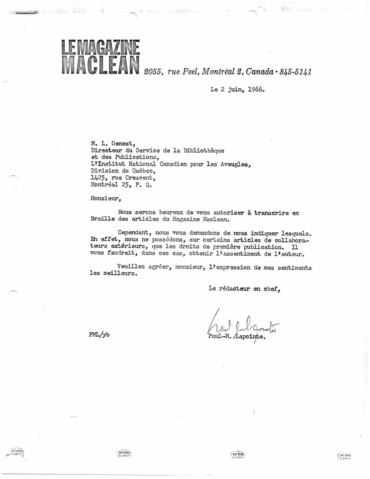MacLean agreement archive, from 1966