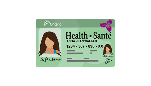 A cartoon illustration of the green/white Ontario Health Card.