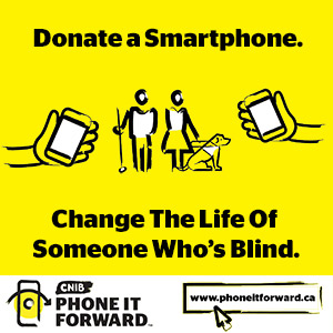 3 icons; a hand holding a phone, a phone with circular arrows surrounding it, two people, a guide dog and a hand holding a phone. A phone icon and the website www.phoneitforward.ca on a yellow background