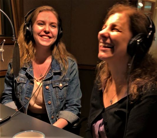 Entrepreneur Pina D'Intino laughs with CNIB's Jacklyn Gilmor as they record a podcast in the CNIB studio