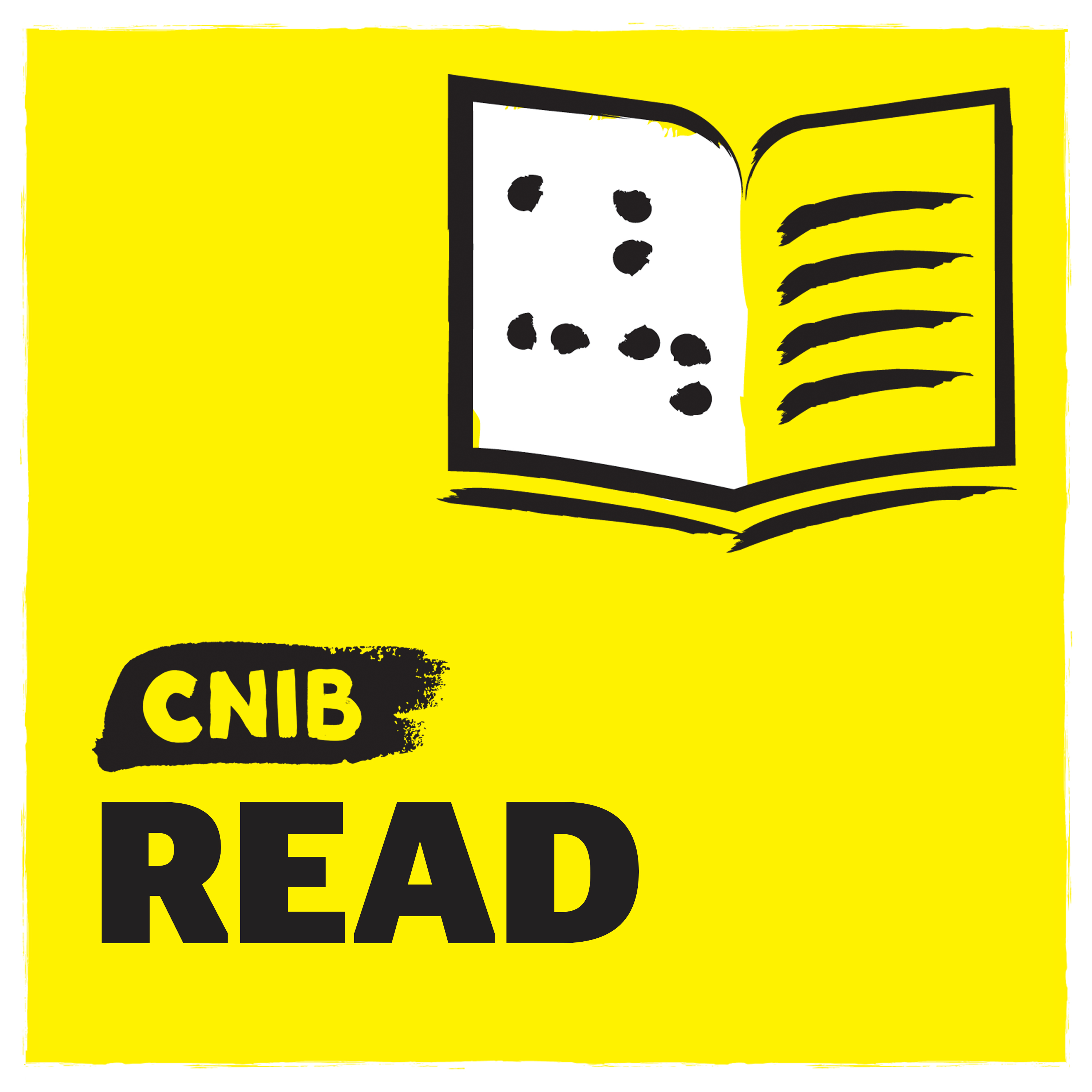 """CNIB Read"" with braille book icon on yellow."