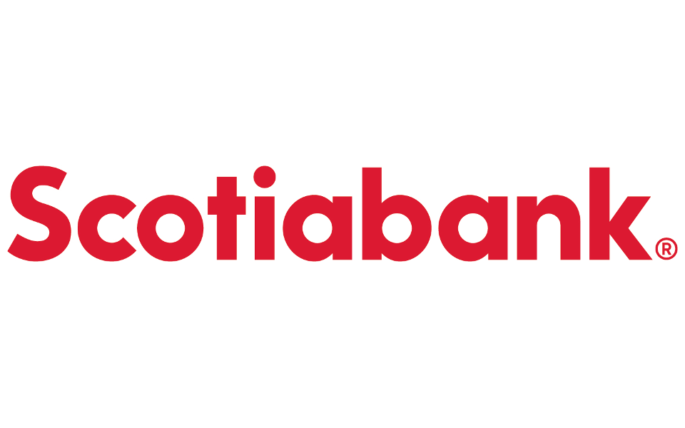 "Scotiabank Logo. Bright, red text on a white background. ""Scotiabank."""