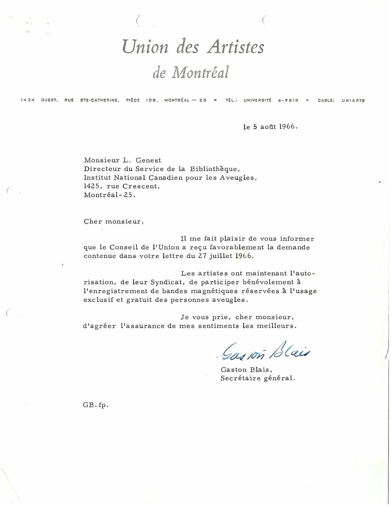 Union des artistes  agreement archive, from 1966