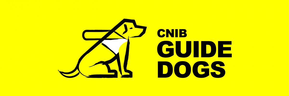 "CNIB Guide Dogs Logo: A sketch of a dog in harness sitting beside the words ""CNIB Guide Dogs"""