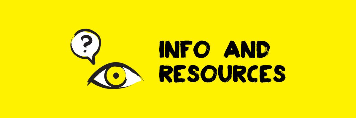 Info and resources - eye with a question mark over it, icon