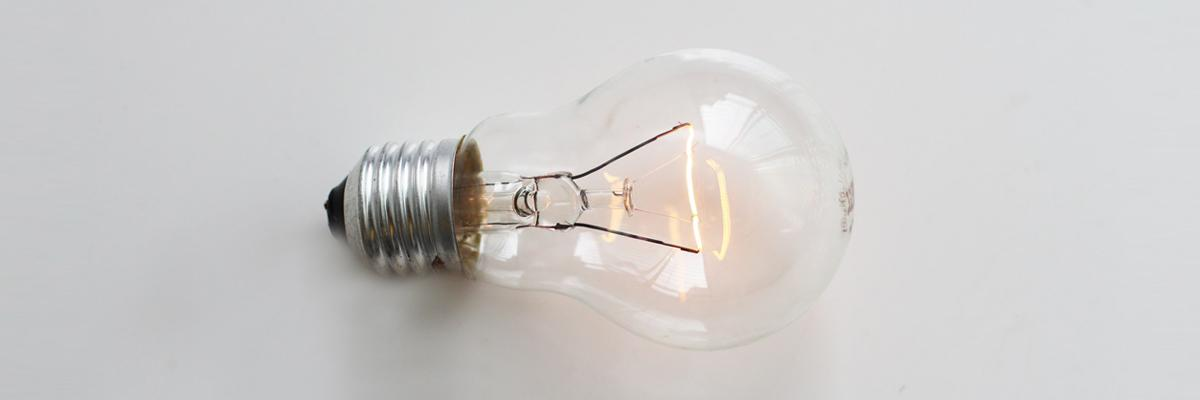 Image of glowing lightbulb.