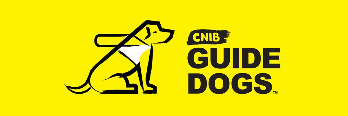 "CNIB Guide Dogs Logo: A sketch of a dog in harness sitting next to the words ""CNIB Guide Dogs""."