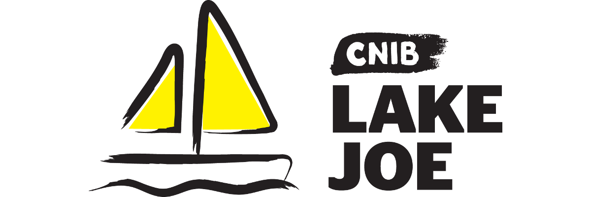 An illustration of a sailboat outlined in a black paintbrush style design. A dash of yellow paint appears on the boat sail. Text: CNIB Lake Joe.