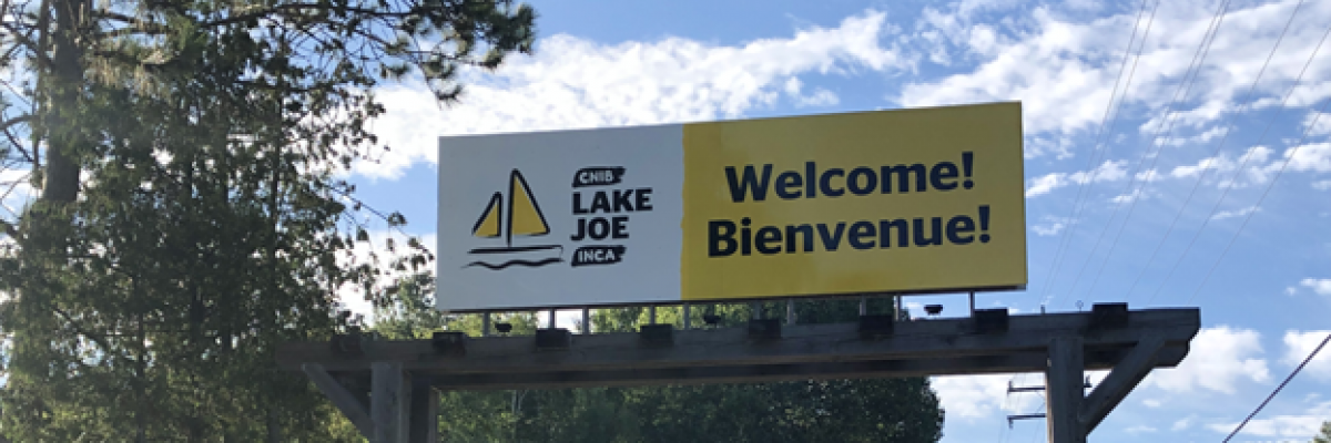 CNIB Lake Joe Welcome/Bienvenue sign at main entrance.