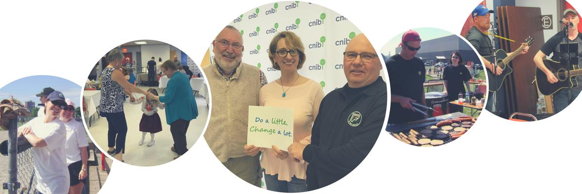 A series of circles with volunteers fundraising for CNIB