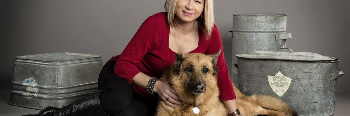 Veronika with her guide dog