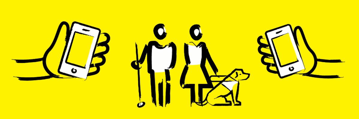 Graphic showing Phone it Forward logo with hands holding smartphones, a man with a white cane and a woman with a guide dog