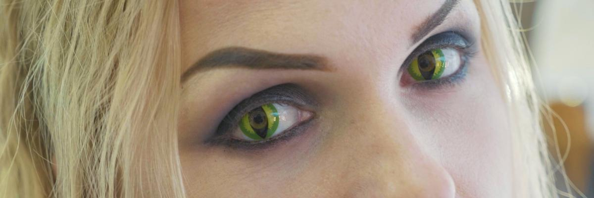 Image of woman wearing cat eye contact lenses