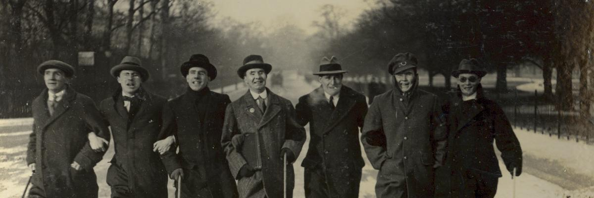 Seven veterans with sight loss walking in Regent's Park near St. Dunstan's in 1917. St Dunstan's – now Blind Veterans UK – is a rehabilitation facility in London that provides rehabilitation services to veterans with vision loss.