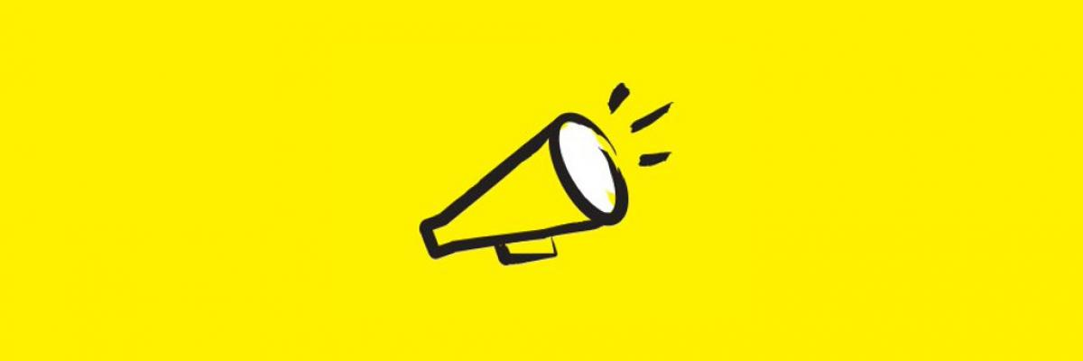 A cartoon illustration of a megaphone. It is outlined in thick, black brush strokes.