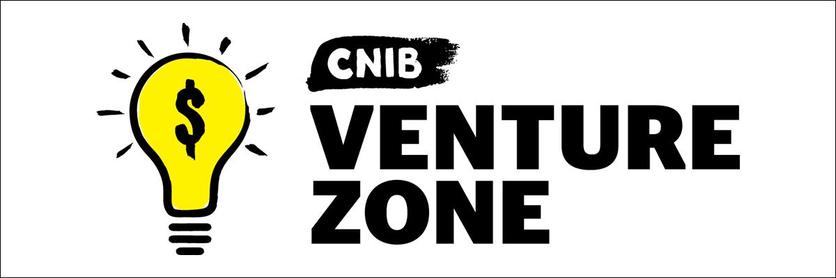 "Illustration of the Venture Zone Game logo, which displays a bright yellow lightbulb with a dollar sign placed over it next to the words ""CNIB Venture Zone"""