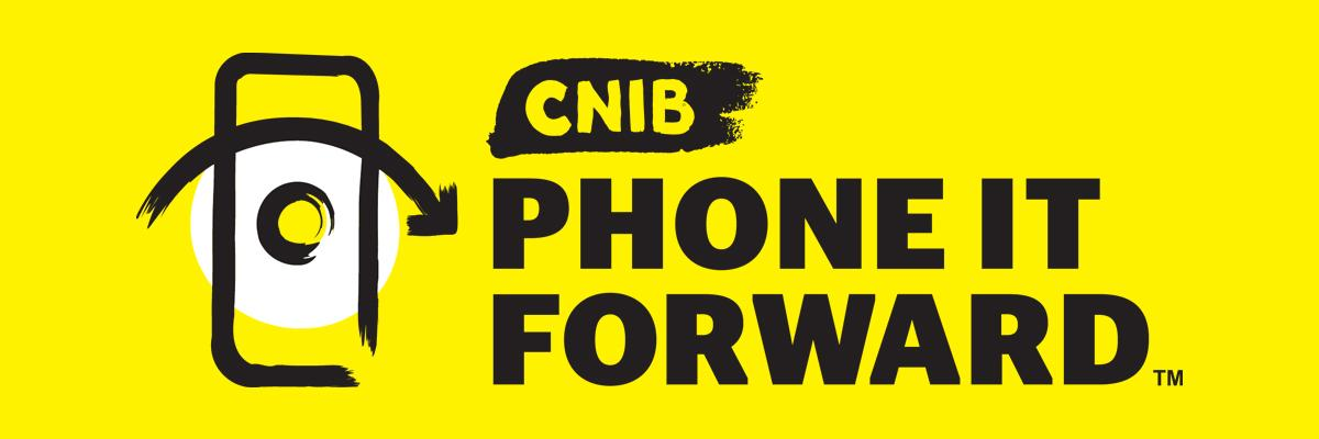 """CNIB Phone It Forward"" and a smartphone icon on a yellow background."