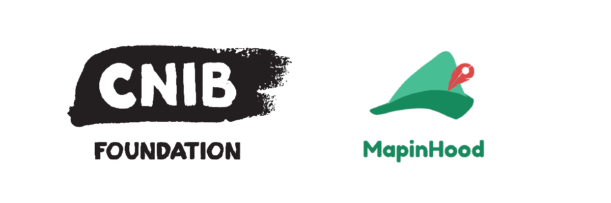 On the left, the CNIB Foundation brushstroke logo. On the left, the MapinHood Logo: a small green hat with a red pin in the shape of a feather.