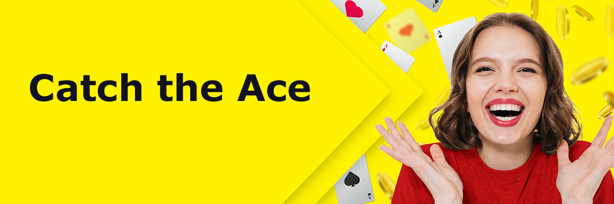 A smiling woman holds her hands up as playing cards fall down around her. The cards are all Aces. Text says CNIB is proud to announce our new Catch the Ace lottery