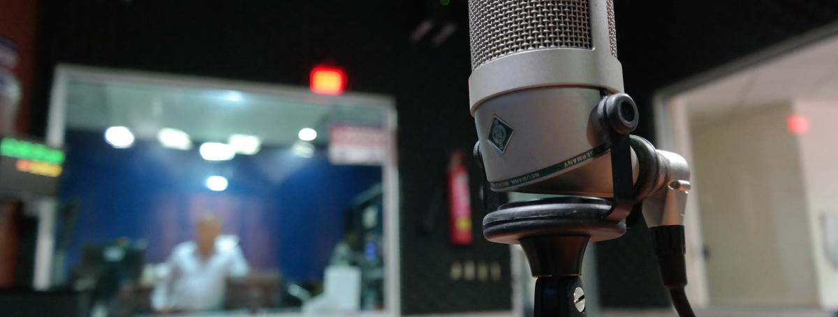 Image of a microphone placed in a recording studio.