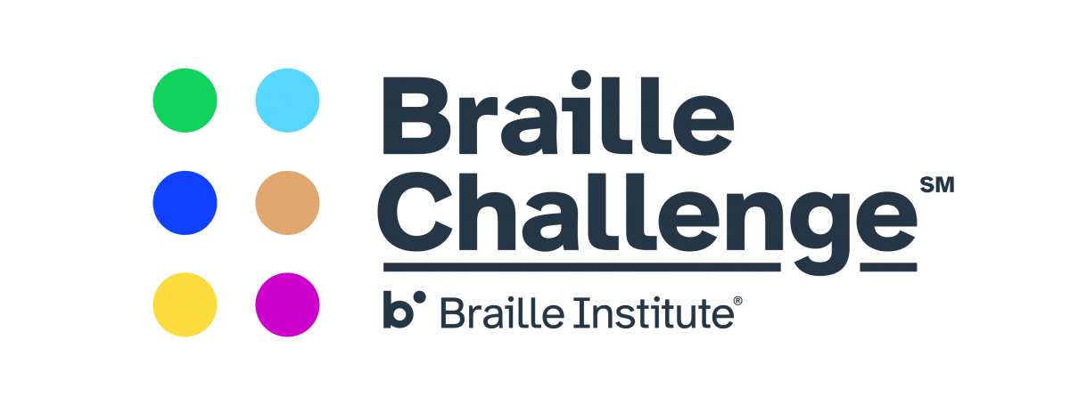 The Braille Challenge Logo. An illustration of six colourful braille cells. Text: Braille Challenge. Braille Institute.