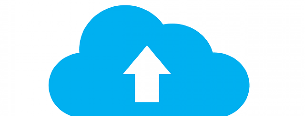 An illustration of a blue cloud with an outline of an arrow facing upwards in the centre of it.