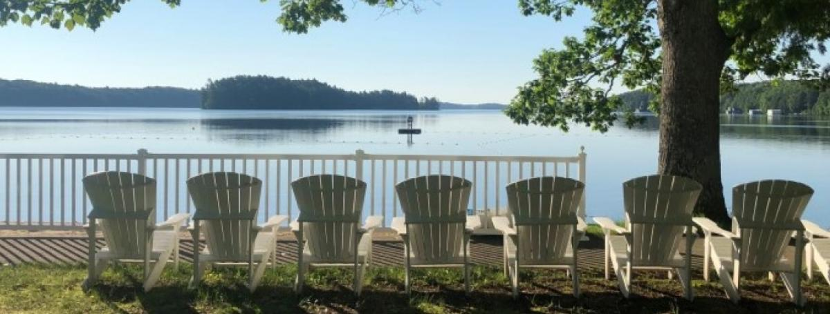 Line of white Muskoka chairs facing the Lake Joe beach