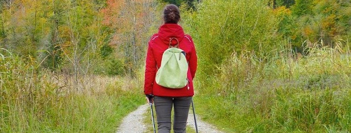 The back of a young woman as she hikes a gravel wooded trail.