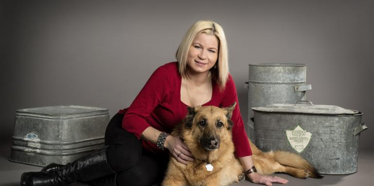 Veronika and her guide dog