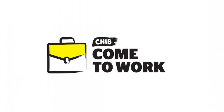 "A cartoon drawing of a briefcase with thick black border. ""CNIB Come to Work"""