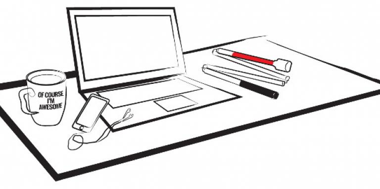 A cartoon drawing of a laptop sitting on top of a desk. To the right of the laptop is a white cane. To the left of the laptop is a coffee cup and a smartphone with earbuds.