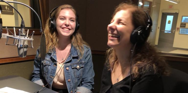 CNIB's Jacklyn Gilmor and entrepreneur Pina D'Intino laugh as they record a podcast in the CNIB studio.