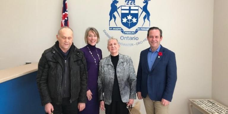 CNIB Simcoe/Muskoka advocates meeting with Doug Downey, MPP Barrie, Springwater, Oro-Medonte. Left to right: Jim Ronald (CNIB advocate), Sherri Helsdingen (Program Lead, Advocacy, Ontario North), Betty Meacher (CNIB advocate), MPP Doug Downey.