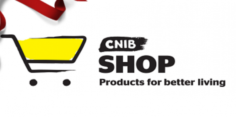 Shop CNIB logo next to a red bow