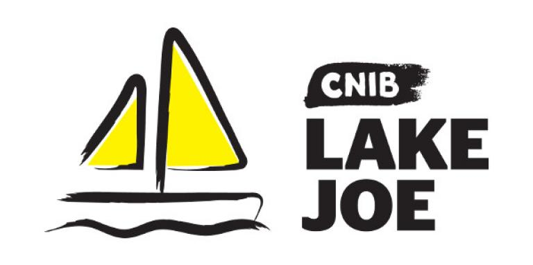 "CNIB Lake Joe logo. An illustration/outline of a sail boat. ""CNIB Lake Joe"" text in simulated black brush strokes."
