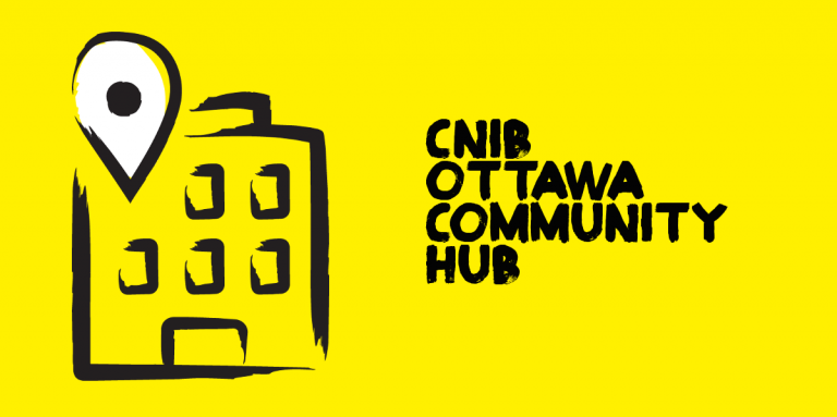 "An illustration of an exterior building outlined in thick, black, paint style. Text ""CNIB Ottawa Community Hub."""