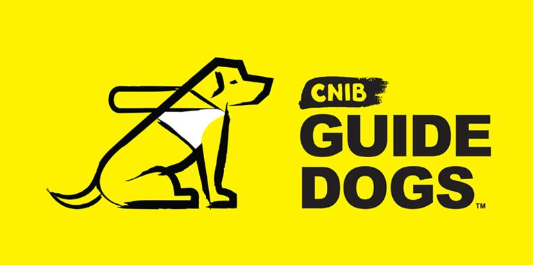 """CNIB Guide Dogs"" and a guide dog icon on a yellow background."