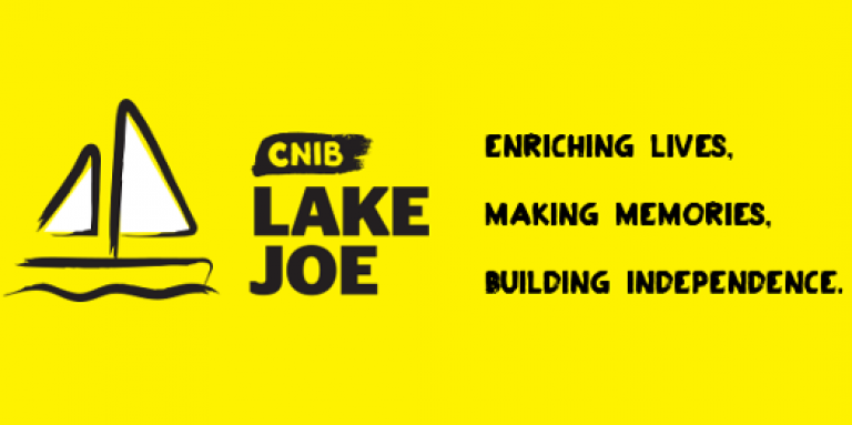 A yellow wallpaper featuring an illustration of a sailboat outlined in a black paintbrush style design. A dash of white paint appears on the boat sail. Text: CNIB Lake Joe. Enriching lives, making memories, building independence.