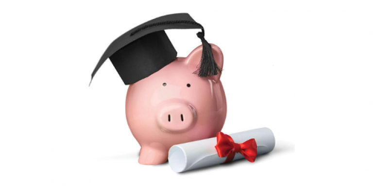 An illustration of a pink piggy bank wearing a black graduation cap. A diploma sits at the foot of the piggy bank.