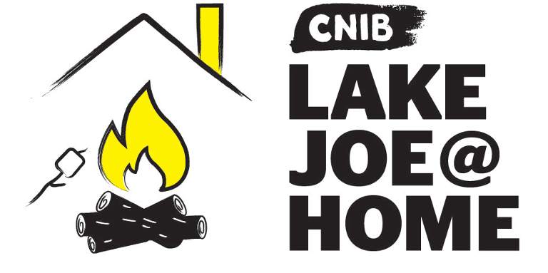 CNIB Lake Joe at Home logo. An illustration of a bonfire/roasting marshmallow sitting underneath an outline of a house/roof.