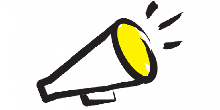 An illustration of a megaphone outlined in a black paintbrush style design with yellow accents.