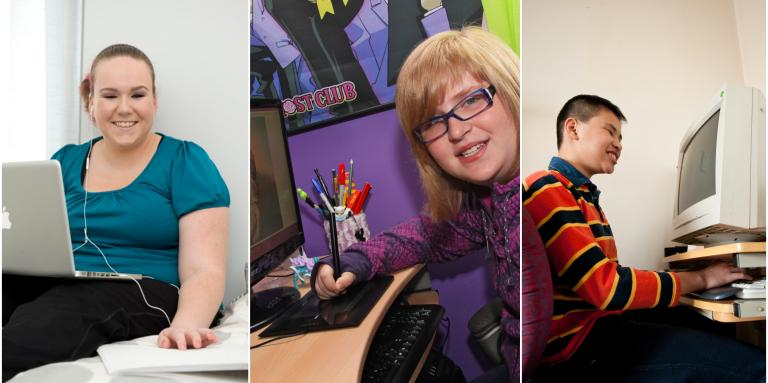 Collage of three images of young people with sight loss using computers at home